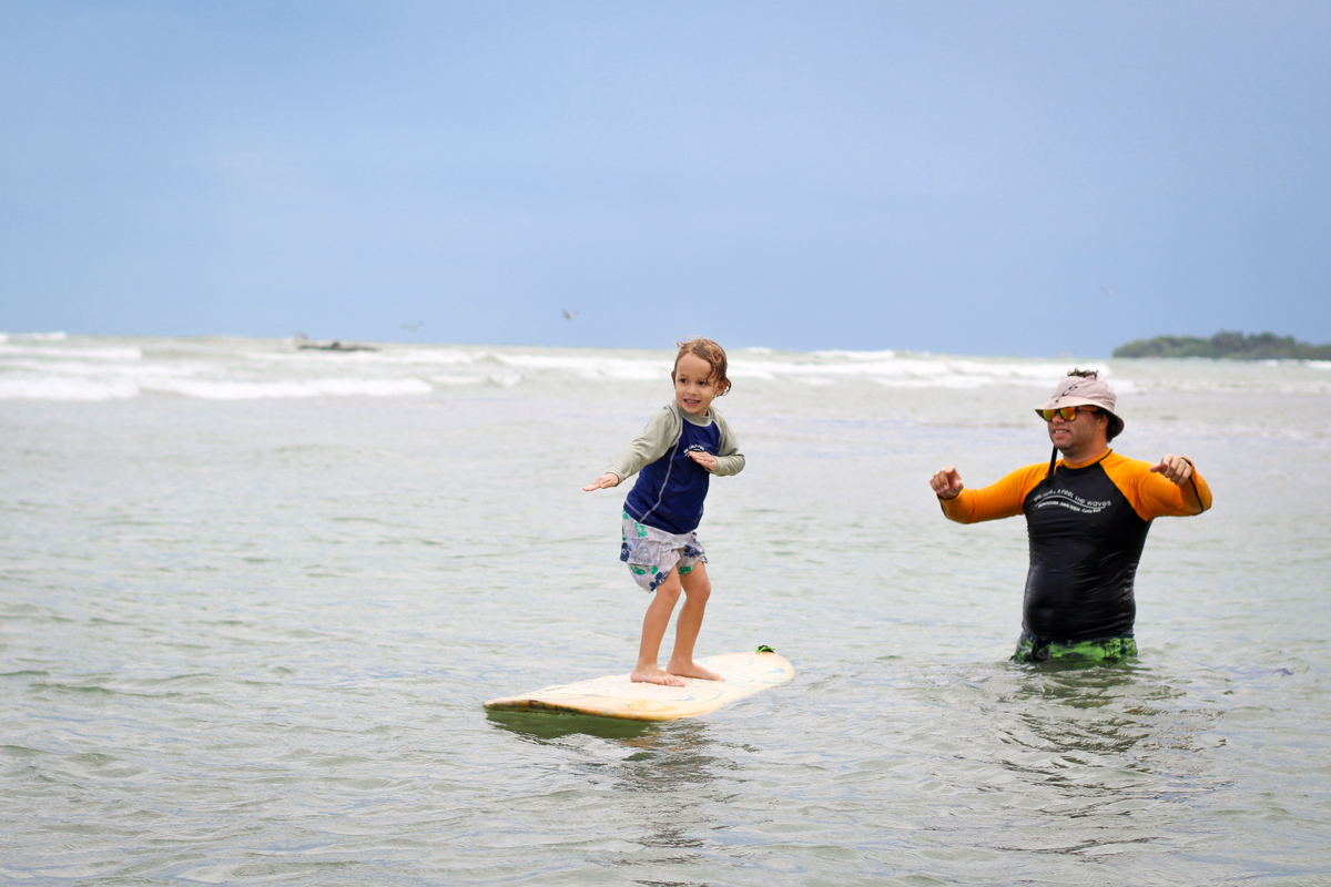 Kids learn to surf very easily and natural. Surfing helps them gain trust, balance, patience and relax