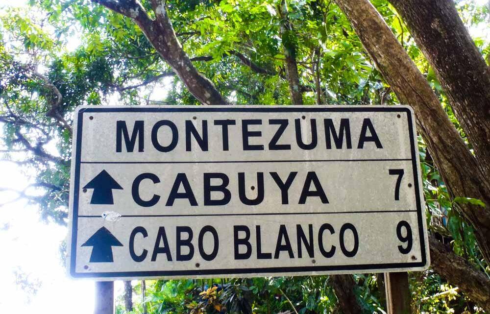 Montezuma, Cabuya, Cabo Blanco in Costa Rica road sign