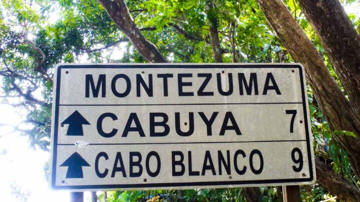 Montezuma, Cabuya, Cabo Blanco in Costa Rica road sign