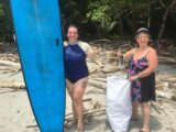 Surting and beach clean up in Montezuma Costa Rica