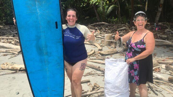 Surting and beach clean up in Montezuma Costa Rica